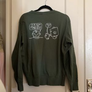 3for$20 graphic olive green crew neck sweater